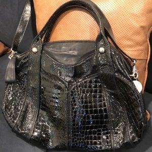 Stuart Weitzman large patent leather bag w strap